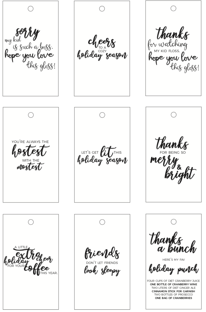 picture regarding Printable Christmas Tags Black and White referred to as family vacation items for lecturers